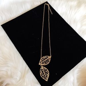 Jewelry - Gold Colored Dainty Double Leaf Necklace NWOT